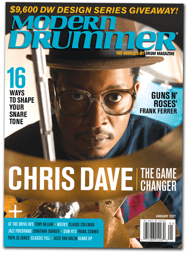 January 2016 Issue of Modern Drummer magazine featuring Chris Dave