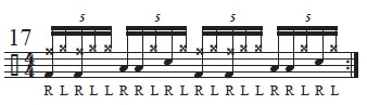 Paradiddles in Quintuplet groupings 8
