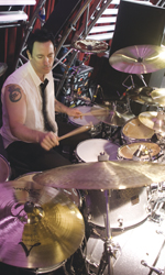 Jimmy Chamberlin behind the drumkit