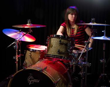 drummer Caitlin Kalafus of Kicking Daisies