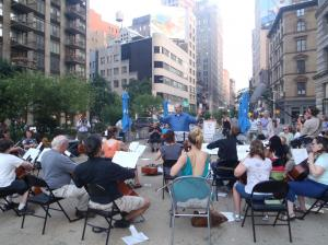 Cellos in Flatiron Sq National Music Day