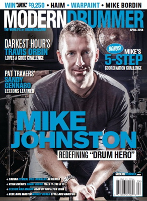 Modern Drummer April 2014 Cover Featuring Mike Johnston