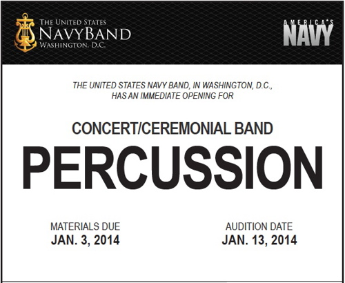 Navy Band Looking for Drummers