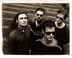 Shudder to Think in the early '90s. From left: bassist Stuart Hill, guitarist Nathan Larson, singer Craig Wedren, drummer Adam Wade