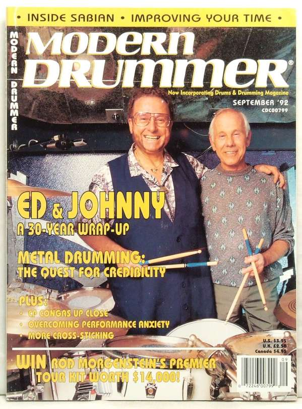 Ed Shaughnessy ad Johnny Carson on the cover of Modern Drummer magazine