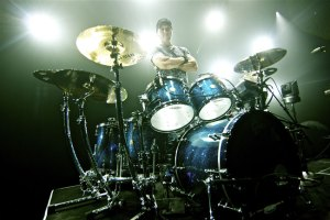 Drummer Van Romaine at his kit
