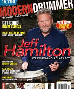 Jeff Hamilton on Feb 2012 Cover of Modern Drummer