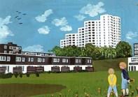 """""""Und auch auf plastischen Mauerschmuck hat man ganz verzichtet. […] Dieses Hochhaus zu erstellen hat nicht viel handwerkliche Mühe gekostet, denn fast alles besteht aus fabrikvorgefertigten Teilen. […] In der Stadt dagegen werden schöne alte Häuserzeilen abgerissen."""" (Christa Murken-Altrogge 1978 in """"Die kleinen Stadtbummler"""", F. Coppenrath Verlag)"""