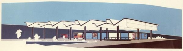 """Hamburg, Haltestelle """"Burgstrasse"""", Schalterhalle, Entwurfscollage von Fritz Trautwein, 1960 (Bestand: Hamburgisches Architekturarchiv)"""