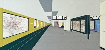 """Hamburg, Haltestelle """"Jungfernstieg"""", Schalterhalle, Entwurfscollage von Fritz Trautwein, 1960 (Bestand: Hamburgisches Architekturarchiv)"""