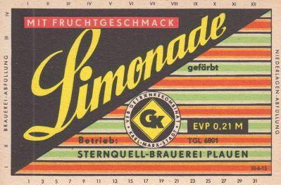 Limonade mit Fruchtgeschmack, Sternquell-Brauerei Plauen (Bild: historisches Etikett)