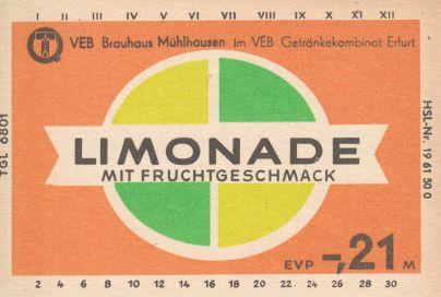 Limonade mit Fruchtgeschmack, VEB Brauhaus Mühlhausen (Bild: historisches Etikett)