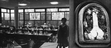 """Potsdam, Terrassenrestaurant """"Minsk"""", Esssaal mit Kachel """"Fiedler"""" von Nikolaj Bajratschnyj (Bildquelle: Privatarchiv Wladimir Stelmaschonok)"""