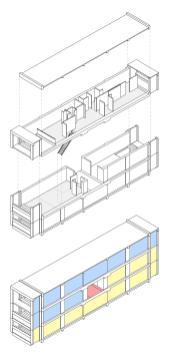 Schema der Unité d'Habitation in Marseille (Bild: Alberto Contreras González, GFDL oder CC BY SA 4.0, 2012)