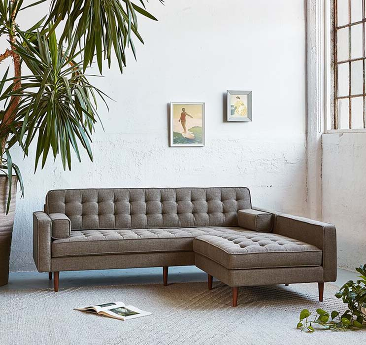 spencer stainless base sectional sofa