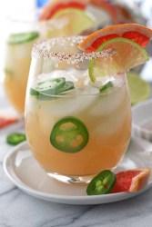 5 Ingredients | Skinny jalapeño grapefruit margarita