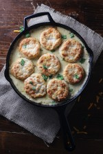 cheddar biscuits and sausage gravy skillet