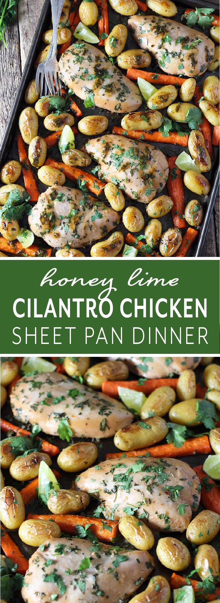 Dinner can't get any easier or tastier. This one pan dinner pairs the most delicious honey lime cilantro chicken with perfectly roasted potatoes and carrots and is served with extra dipping sauce on the side!