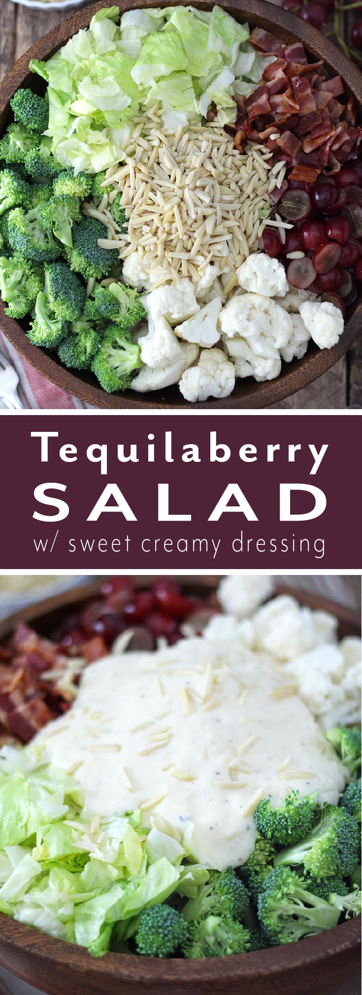 Easy and delicious side salad packed with veggies, bacon, and grapes then drizzled with a sweet creamy dressing. Both adults and kids devour this salad! It's perfect for a BBQ or quick weeknight side dish, and feeds a crowd.