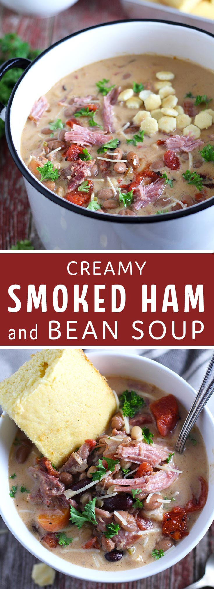 Easy-to-make, hearty soup packed with smoked ham and 6 kinds of beans. One of my favorite cold weather comfort foods!