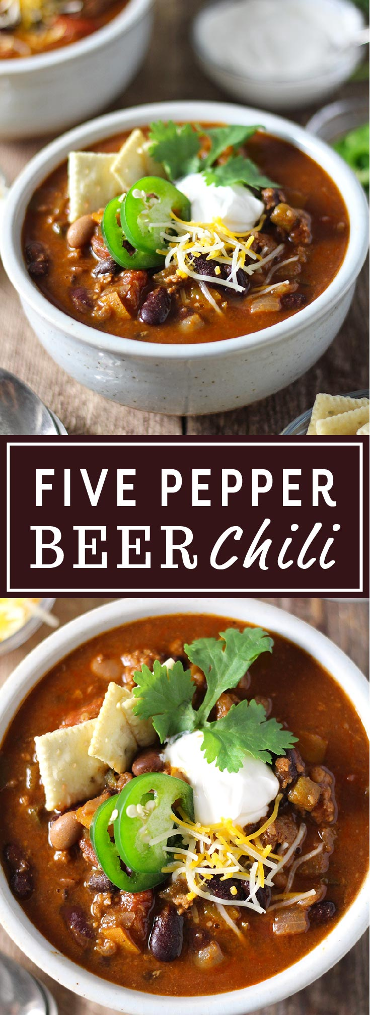 Hearty, easy-to-make chili with a kick! Made with a full can of beer and homemade chili seasoning, loaded with five types of peppers from sweet to spicy, and packed with four types of beans and ground beef.