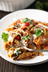 Jumbo pasta shells packed with tex-mex style chicken and beans, and all smothered in a creamy, southwest cheese sauce.