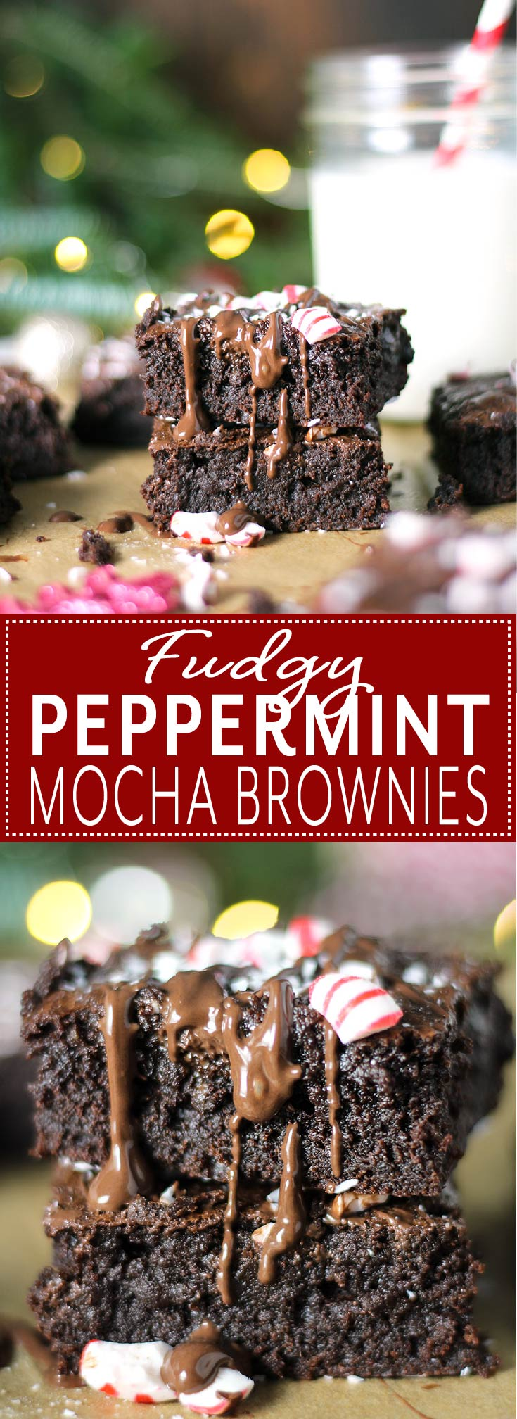 Fudgy Peppermint Mocha Brownies are the ultimate holiday treat! Rich and fudgy brownies infused with peppermint and espresso, drizzled with dark chocolate, and sprinkled with crushed peppermint candies.