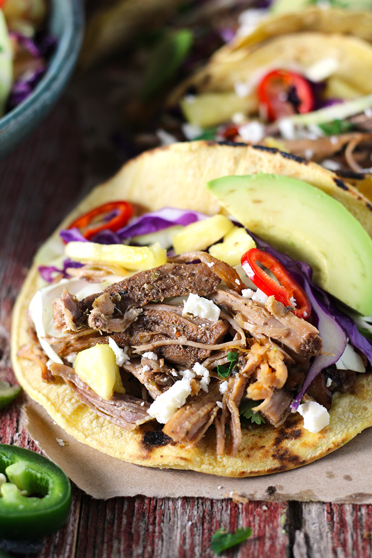 Mexican Pork Carnitas Tacos with Spicy Pineapple Slaw combines all the best flavors. The slow-cooked carnitas are smoky, delicious, and perfectly crisp, and the spicy pineapple slaw adds the perfect amount of spice and sweetness to the tacos.