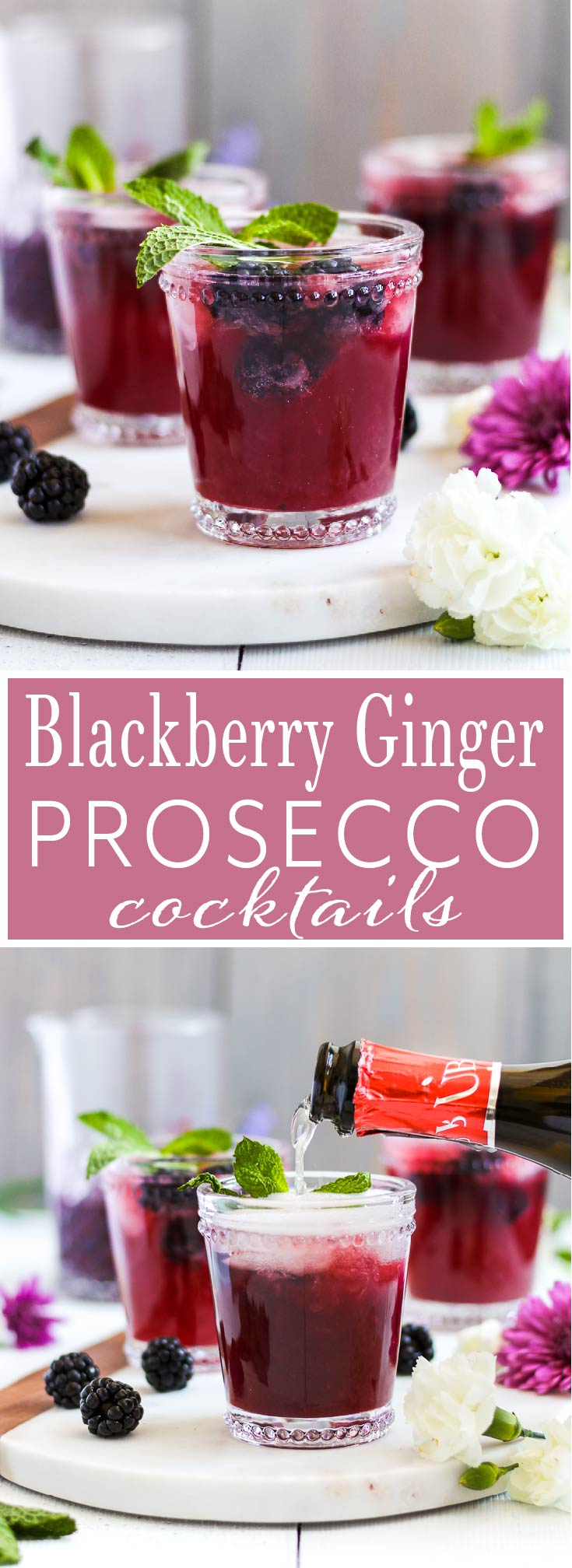 Your new drink of spring and summer! Easy, homemade blackberry ginger simple syrup pairs with lime, vodka and Prosecco creating a tasty and refreshing cocktail that's perfect for brunch, parties or just any that requires a drink or two.