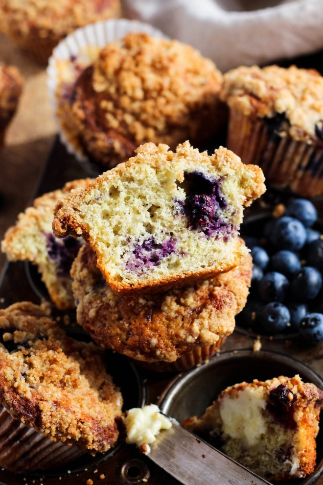 Blueberry muffin cut in half