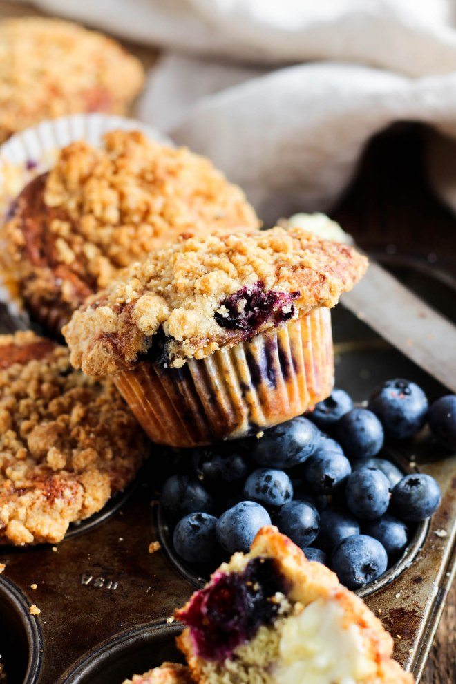 Blueberry muffin with sugar cookie streusel