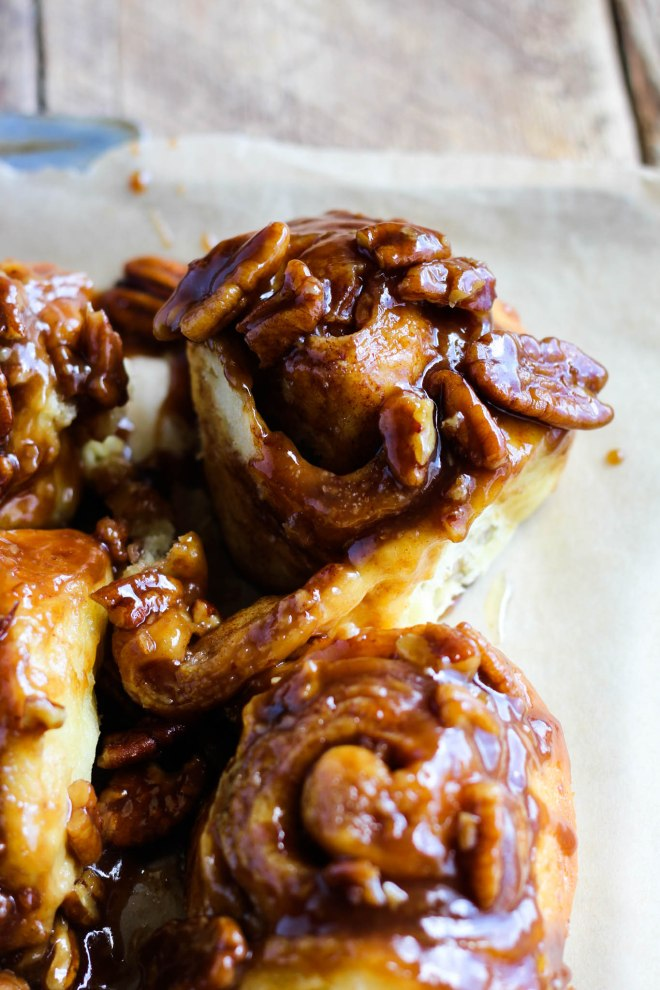 Close-up of a caramel pecan sticky bun