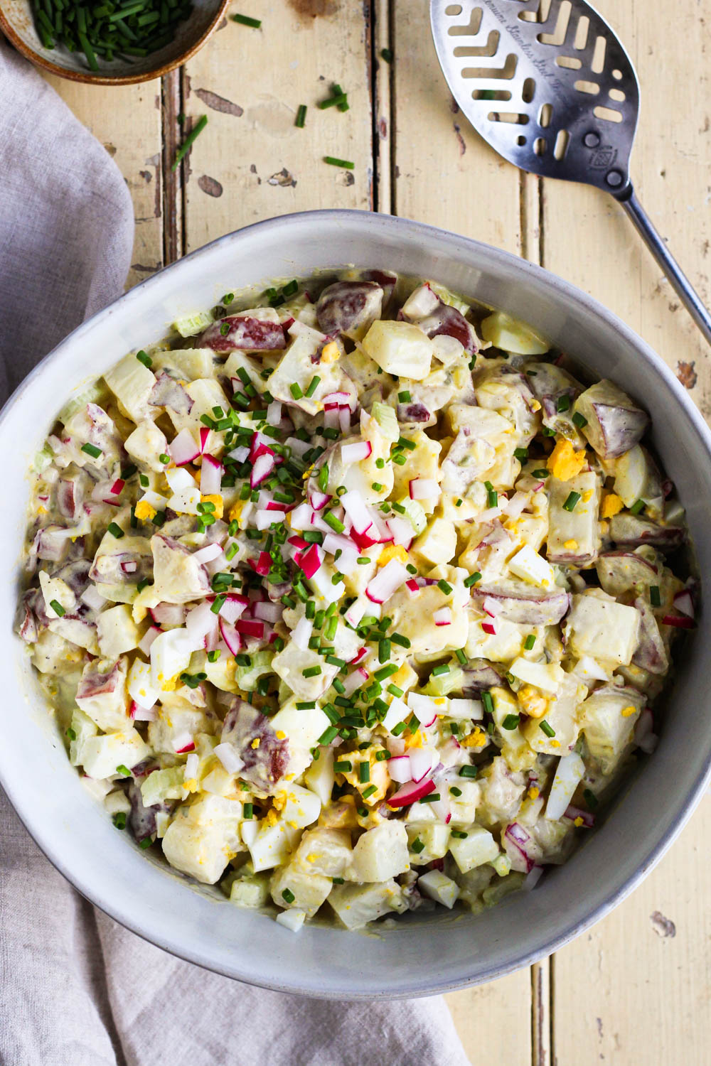 Potato salad in a serving bowl