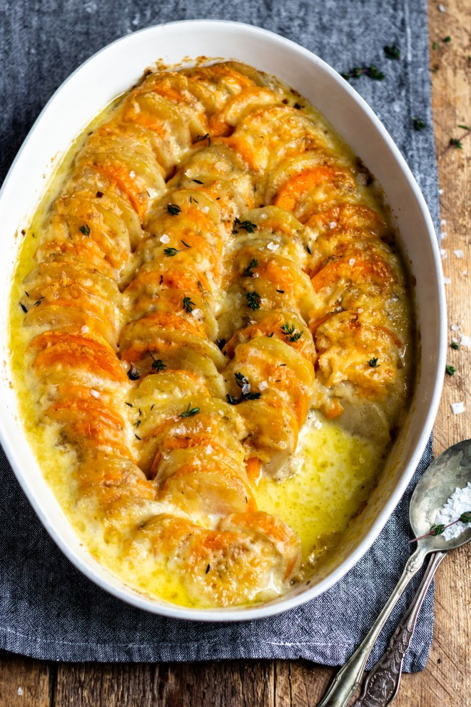 baked cheesy gratin russet potatoes and sweet potatoes