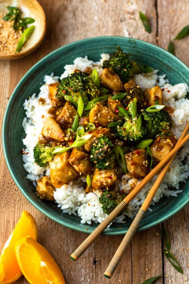 spicy orange chicken and broccoli