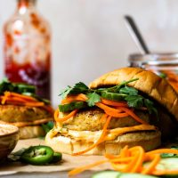 Chicken Banh Mi Burgers with Quick Pickled Vegetables