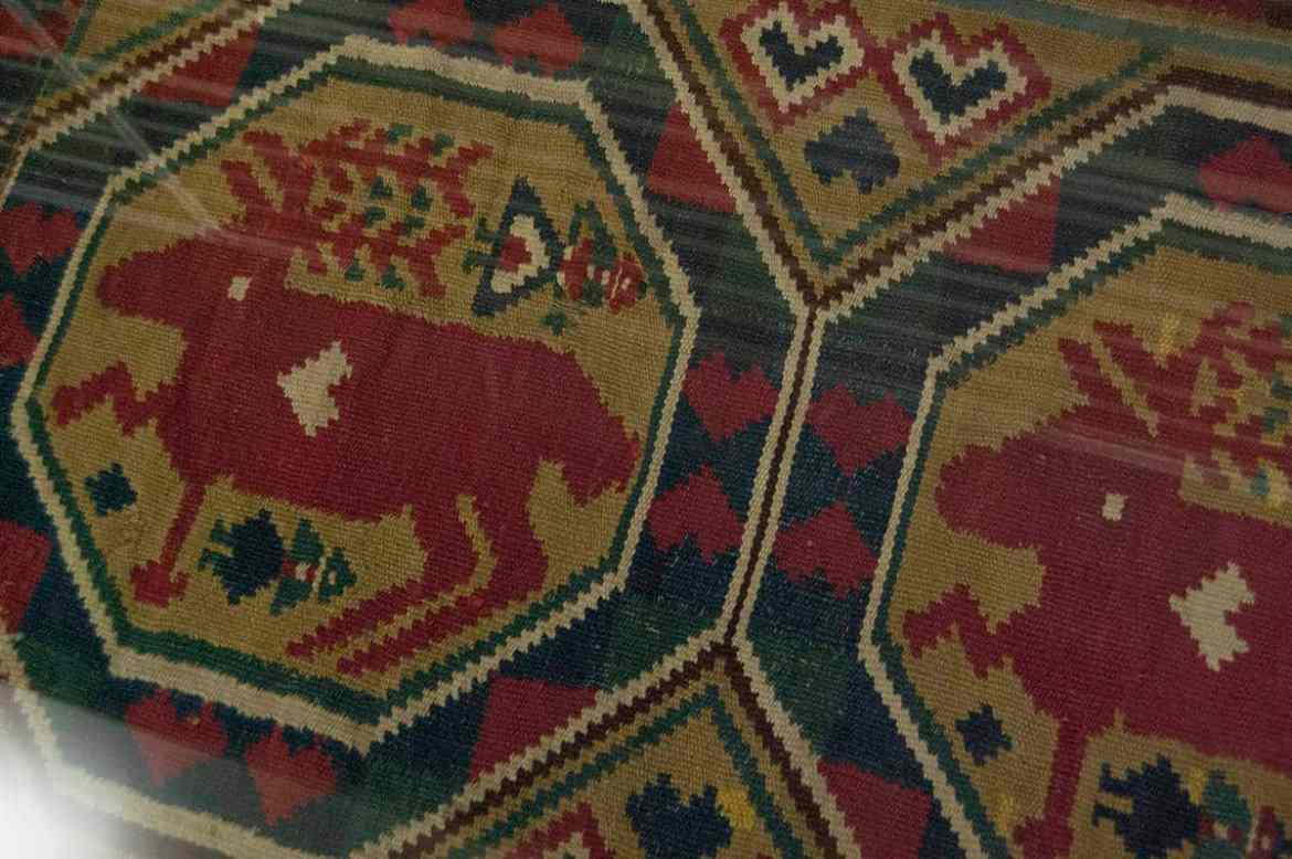 Flatweave with deer at the Nordiska Museet, Stockholm