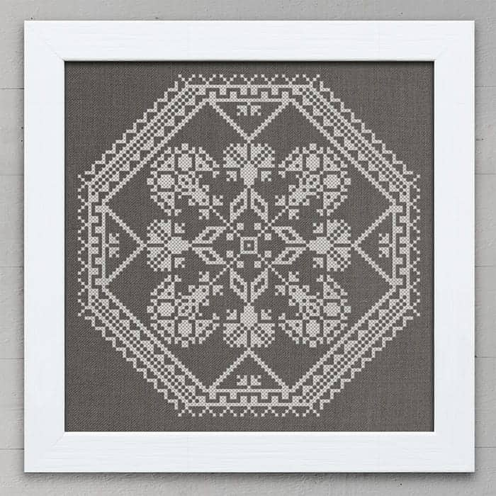 A Quaker Medallion - original counted cross-stitch pattern by Modern Folk Embroidery