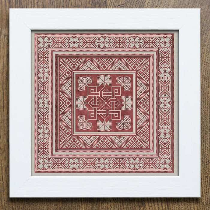 Valknut Pillow Pattern - a Scandinavian inspired cross stitch embroidery pattern