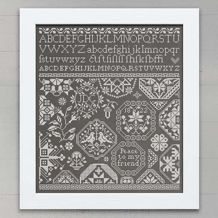 Quaker Sampler: Peace To My Friend - period inspired cross-stitch pattern