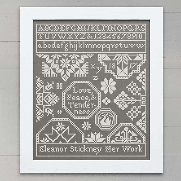 Quaker Sampler: Love, Peace, & Tenderness - original cross-stitch embroidery pattern