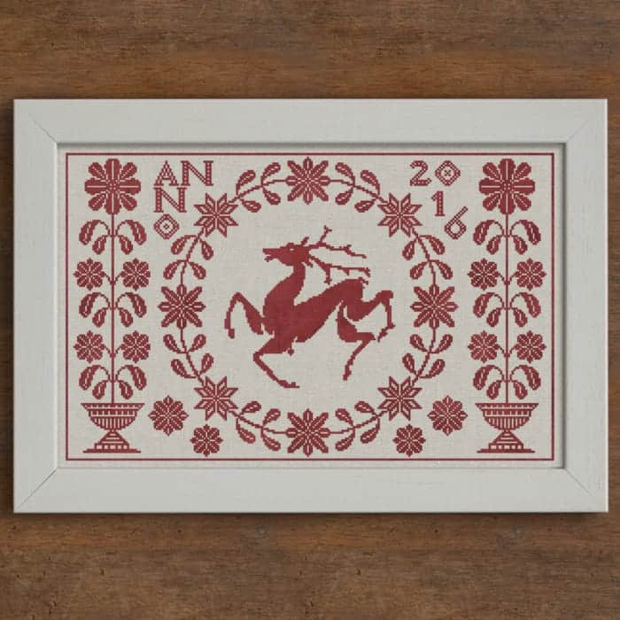 Summertime Stag - Original Cross-Stitch Chart by Modern Folk Embroidery
