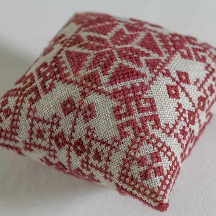 Christmas Pincushion - original embroidery cross stitch pattern by Modern Folk Embroidery