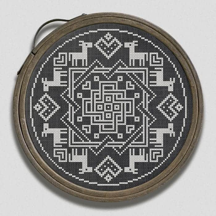 Knots, hearts & crosses - an original, romantic cross stitch pattern by Modern Folk Embroidery