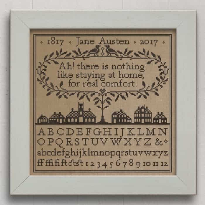 Real Comfort: A Jane Austen Sampler. Original Cross-Stitch Chart by Modern Folk Embroidery