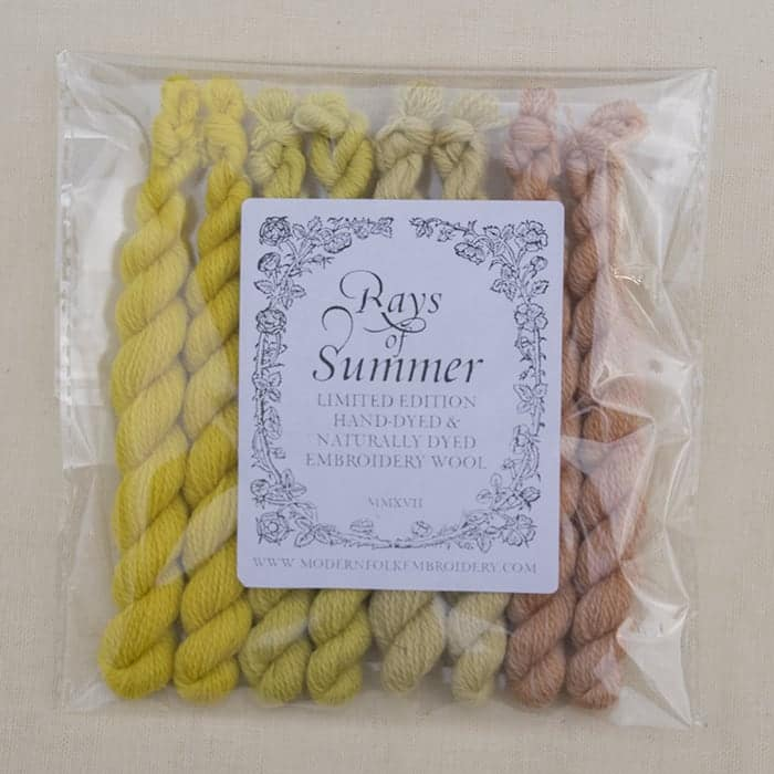 Rays of Summer - Limited Edition Hand Dyed Embroidery Wool by Modern Folk Embroidery