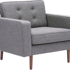 Grey Arm Chair Steel Reinforcement Zuo Modern Puget Gray 100219