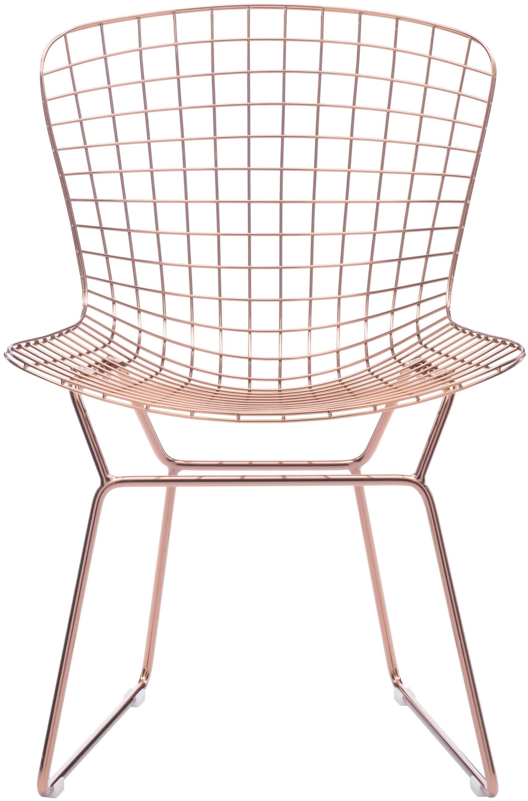wire dining room chairs folding chair bed zuo modern set of 2 rose gold