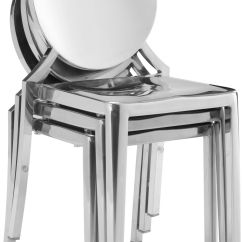Metal Kitchen Chairs Canada Rocking Bag Chair Zuo Modern Eclipse Dining Set Of 2 Stainless