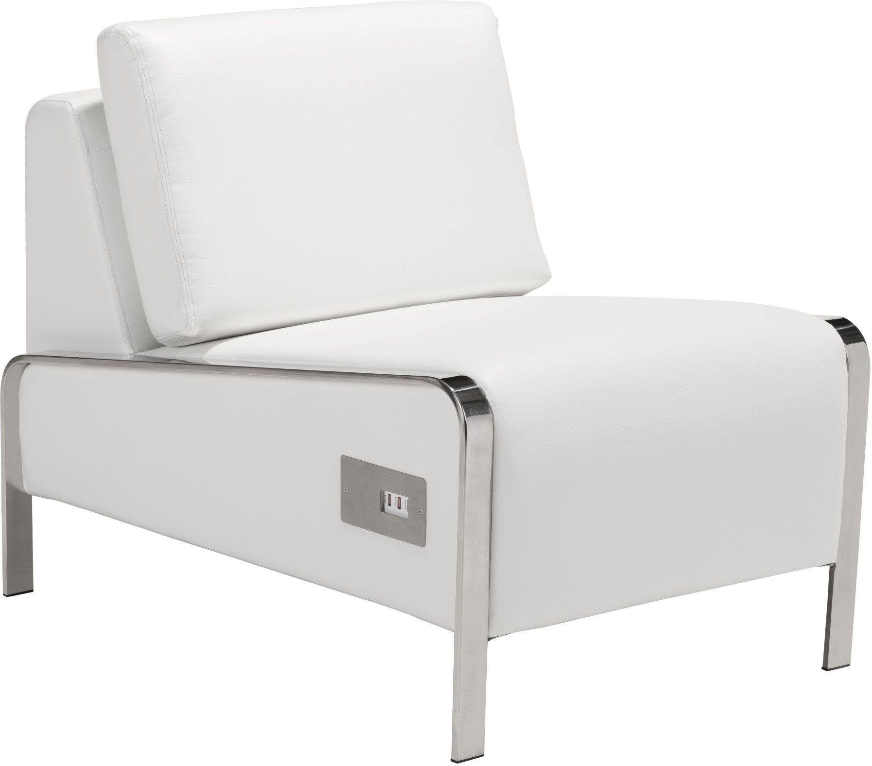 Zuo Modern Thor Armless Chair White  100676  Modern